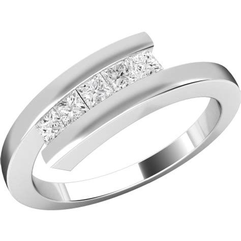 a striking princess cut twist ring in 18ct white