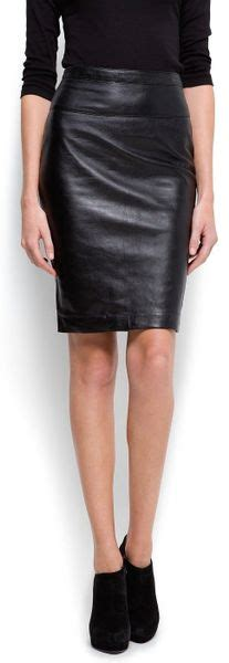 mango leather pencil skirt in black lyst