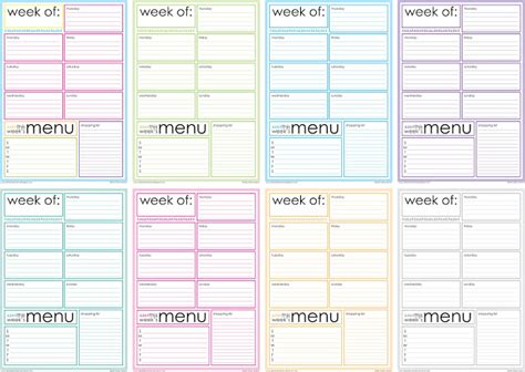 blank menu planner template 6 best images of printable monthly menu sheets free