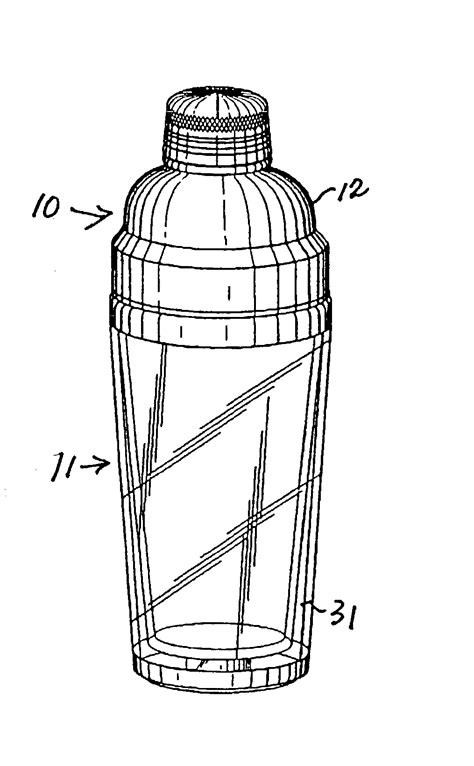 martini shaker drawing patent us20040066705 cocktail shaker google patents