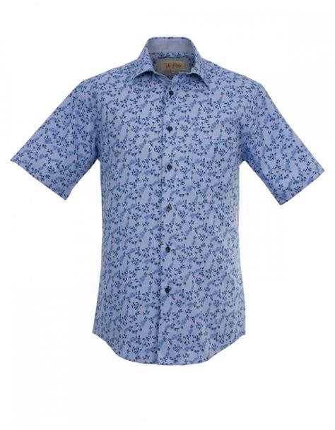 design half shirt blue floral design half sleeve shirt fields menswear