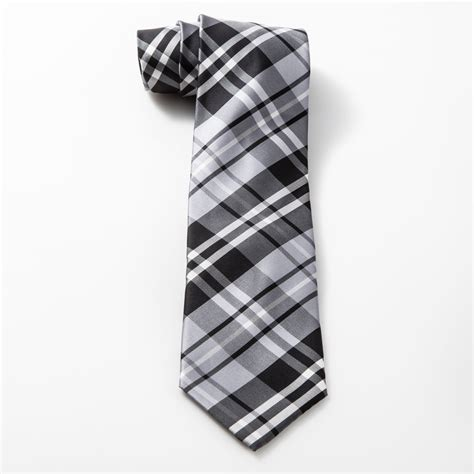 grey plaid tie and pocket square mens tux