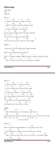 printable lyrics laura story blessings christian music chords and lyrics download these lyrics