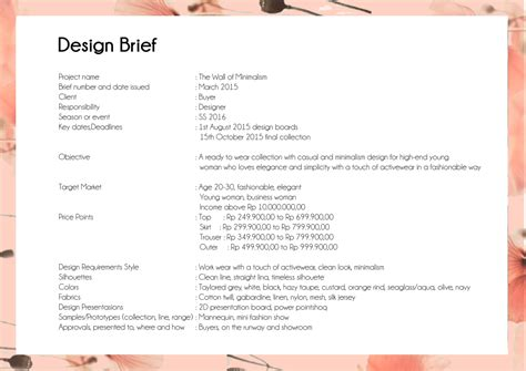design brief in fashion fashion vinneta thea