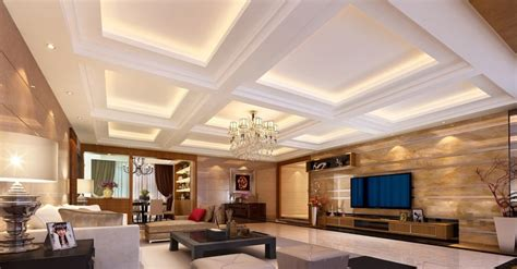 modern living room plaster ceiling design lights
