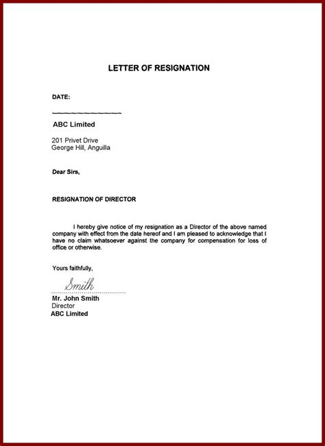 image result for resignation letter word format family