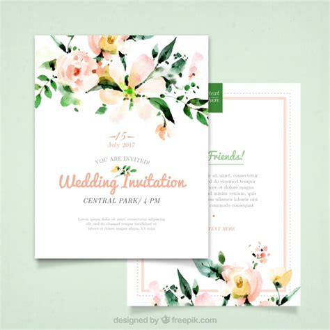 wedding invitation freepik wedding invitation with watercolor flowers vector free