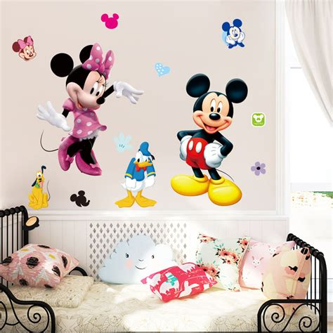 minnie mouse home decor 50x70cm lovely mickey mouse minnie wall stickers for kids
