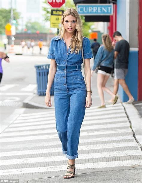 Yc Axcelo Denim Cp Denim Slim Fit Jumpsuit Free Belt Inner martha hunt struts around nyc in cropped jumpsuit daily mail
