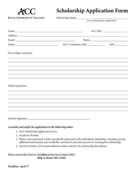 template for scholarship application application form basic application form template