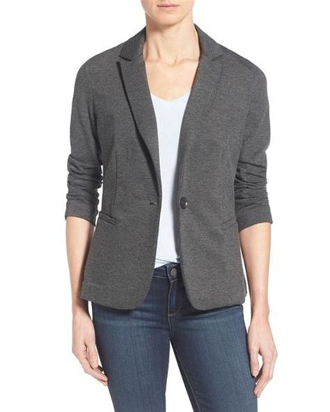 womens knit blazer moon knitted blazer in gray lyst