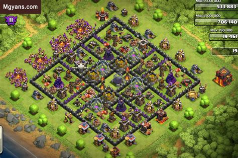 th9 layout december update best th 10 farming base 4 mortars coc