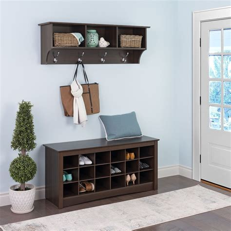 entryway shelves entryway storage shelf espresso stabbedinback foyer saving space with entryway storage shelf