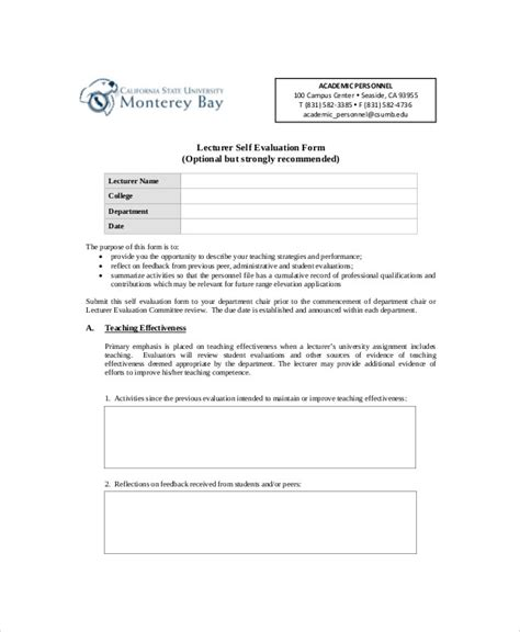 lecture evaluation form sle lecture evaluation form 9 exles in word pdf