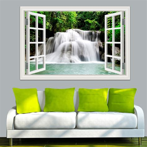 home decor stickers wall 3d wall sticker home decal waterfall 3d window view