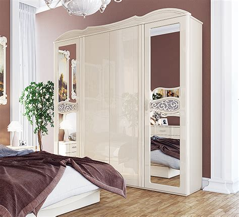 Kleiderschrank Weiß Hochglanz Spiegel by Kleiderschrank Schrank 4 T 252 Rig Mit Spiegel 206 Cm Creme