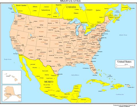 map usa major cities united states colored map