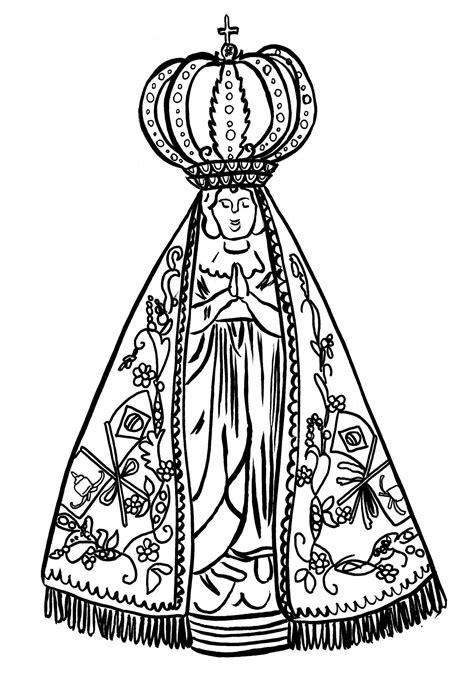 10 Desenhos de Nossa Senhora Aparecida para Colorir e