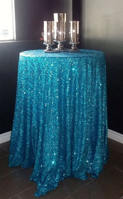amazing   crystal blue sequin tablecloth