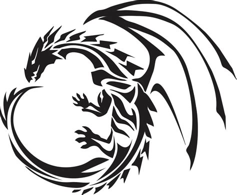 wonderful black tribal dragon tattoo stencil