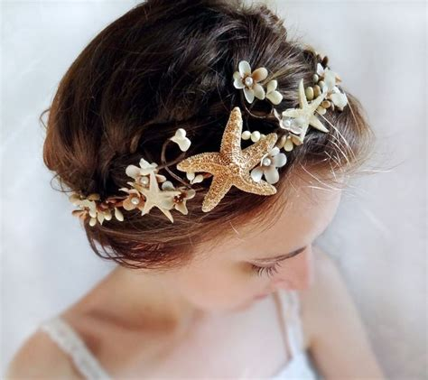 starfish hair accessories by hair comes the bride seashell headpiece bridal headband beach wedding
