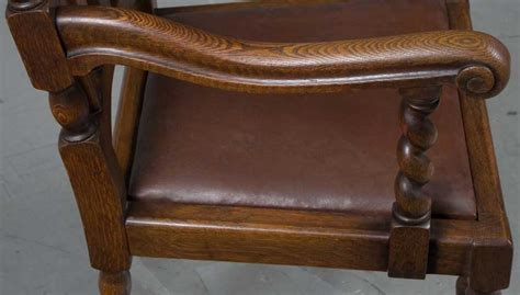 Antique Dining Room Chairs With Leather Seats Set Of Ten 8 2 Barley Twist Oak Antique Dining Room