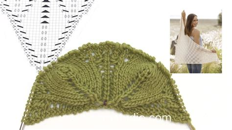 leaf pattern shawl knitting how to knit the shawl with leaf pattern in drops 176 21