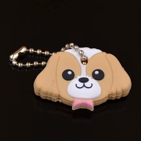 ring bunny rubber glow cover puppy pug cat rabbit key cover cap keychain key ring