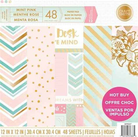 Craft Paper Pads - craft smith mint pink 12x12 inch paper pad mpp0067