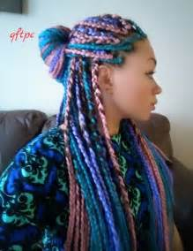 i tried it multi colored box braids black with