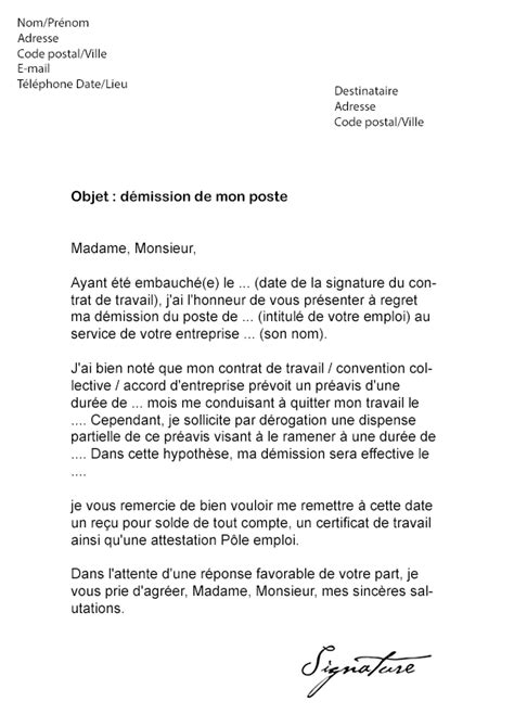 Modification Contrat De Travail Apres Cession by Lettre De D 233 Mission Cdi Demande R 233 Duction Pr 233 Avis