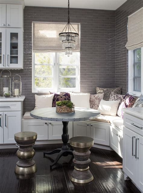 Nice Small Dining Room Ideas #4: Small-Chandelier-Over-The-Breakfast-Nook-Bench.jpg