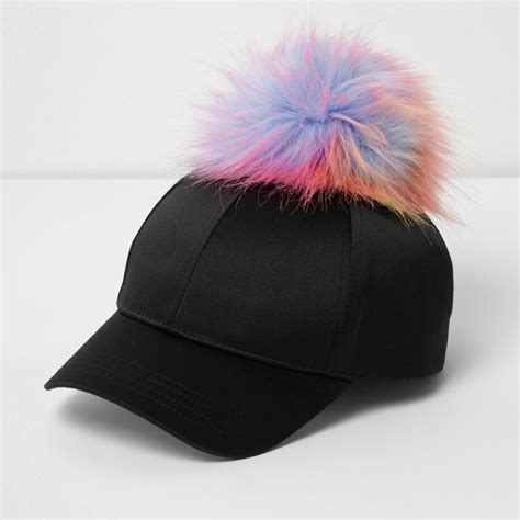 pompom baseball cap black satin pom pom baseball cap shop