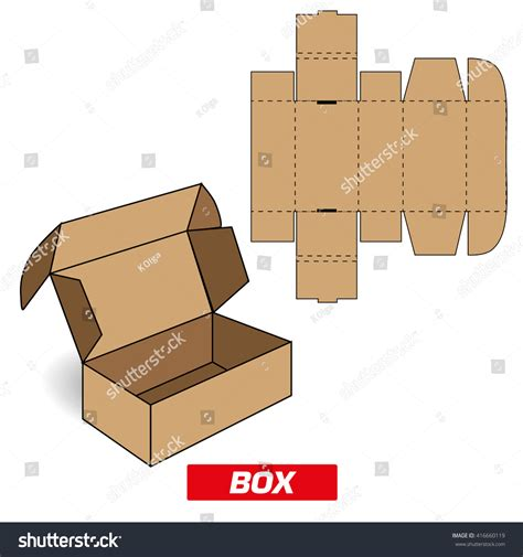 How To Make A Rectangular Box Out Of Paper - cutting a rectangular box stock vector 416660119