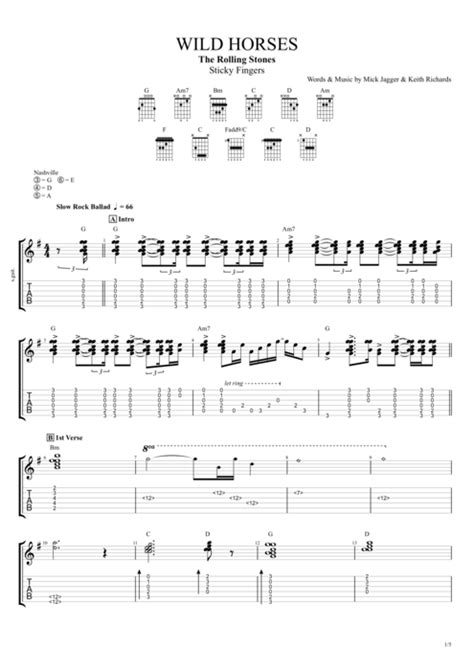 Wild Horses by The Rolling Stones - Full Score Guitar Pro
