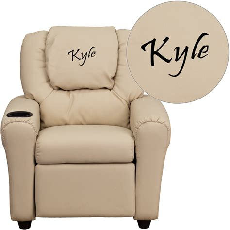 personalized recliners for toddlers personalized beige vinyl kids recliner with cup holder and