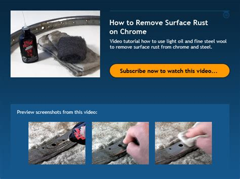 light surface rust removal how to remove surface rust on chrome bicycle tutor video