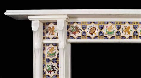 Minton Fireplace Tiles by Statuary Marble Antique Fireplace Mantel Set