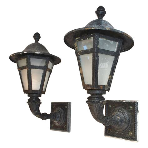 Cast Iron Lighting by Large Pair Of 1920 Cast Iron And Metal Outdoor Sconces For