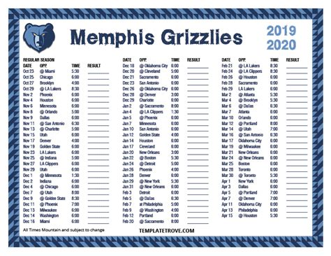 printable   memphis grizzlies schedule