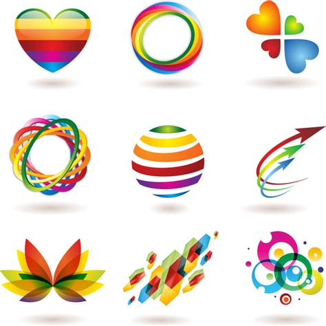 colorful logo design elements vector set colorful abstract logo element set free vector in adobe