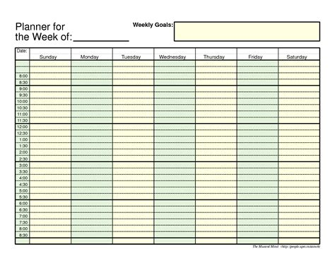 free printable weekly schedule planner 7 best images of 24 hours weekly planner calendars