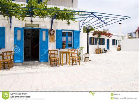design cafe greek street cafe greek lefkes paros cyclads greece stock photo image