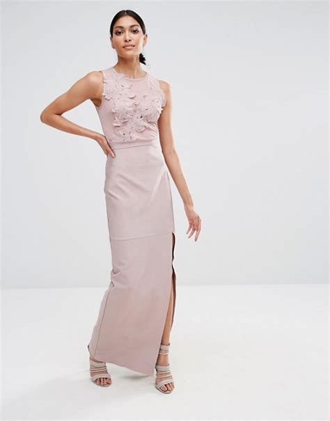 missguided missguided premium bandage lace applique maxi