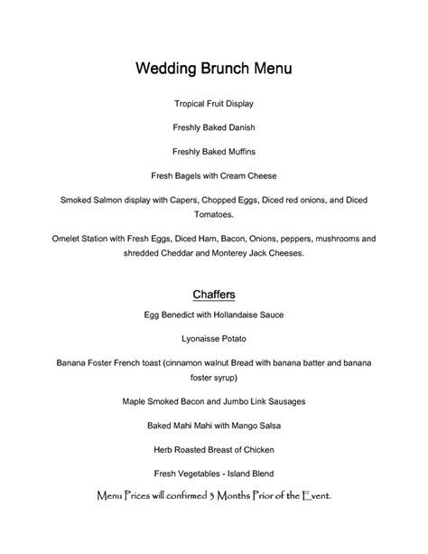 wedding brunch menu   Google Search   Wedding Ideas