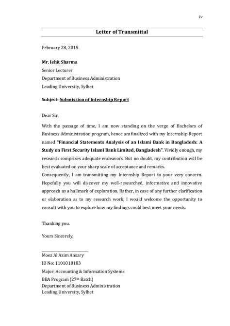 Finance Department Letter Internship Report On Financial Statements Analysis Of Fsibl By Moez A