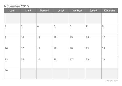 Calendrier Novembre 2015 Calendrier Novembre 2015 224 Imprimer Icalendrier