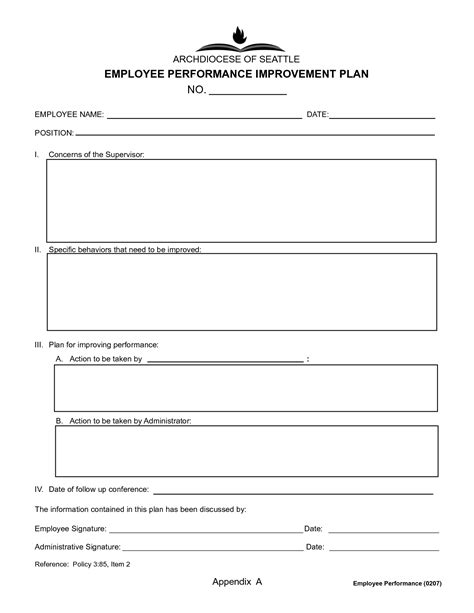 Employee Performance Development And Improvement Plan Doc Template V M D Com Improvement Plan Template Excel