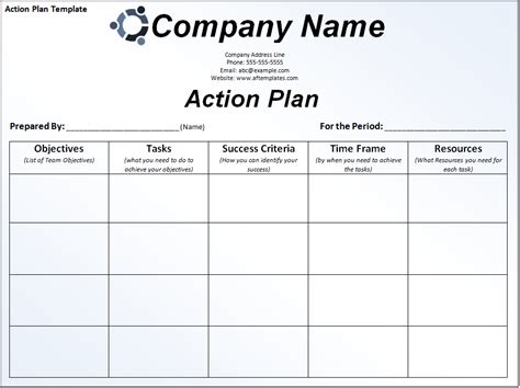 free action plan template free word s templates