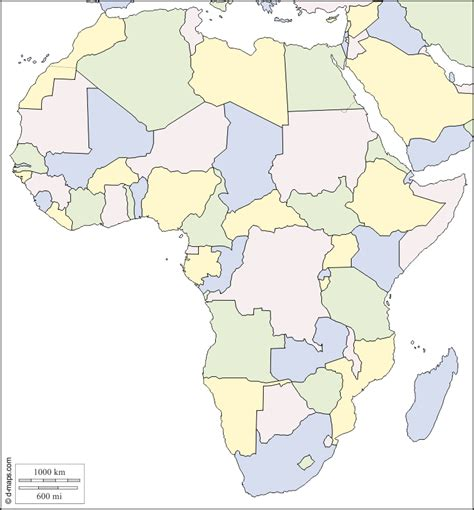 color blank map africa political